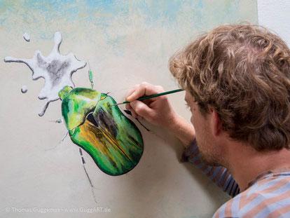 realistisch malen mit Acryl - Der schimmernde Käfer, Bild 2