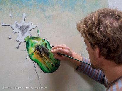 realistisch malen mit Acryl - Der schimmernde Käfer, Bild 3