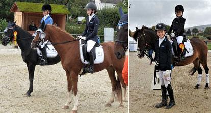 Links: Shirin Mader und Lilou Jama - Gold und Silber für Beerfelden. Rechts: Joline Emmerich, geführt von Lilou Jama, errang die beste Note in der Führzügelklasse.