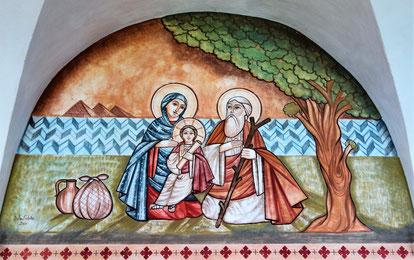 Die Heilige Familie in Ägypten unter dem Baum von Matahria in Kairo, Malerei von Dalia Sobhi im Koptischen Kloster Brenkhausen