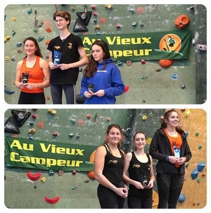 Podiums Juniors F (haut) et Cadets F (bas)