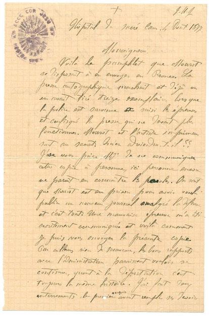 LETTRE DU P. LOUIS LEVAVASSEUR A SON EVEQUE (Recto)