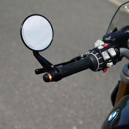 Lenkernendenblinker BMW R 1200 R R/S, Kellermann BL 2000, Lenkerenden, Lenkerendenspiegel
