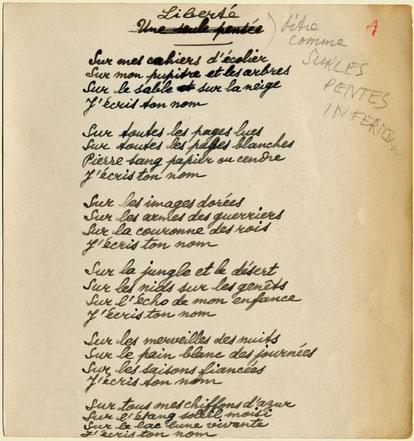 Manuscrit montrant la correction du titre par le poète