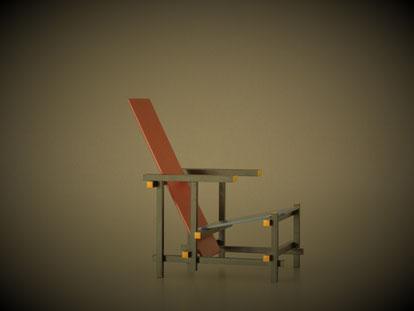 Rot-blaue-Stuhl, Miniaturstuhl von Gerrit Rietveld, auch bei Vitra erhältlich