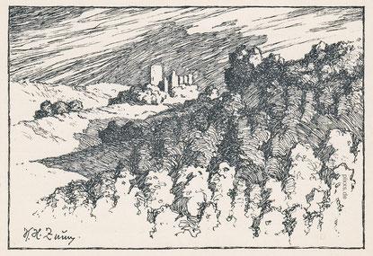 Burg nach einer Federzeichnung v. Karl Heinz Zunn