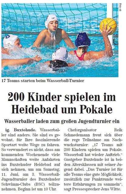200 Kinder spielen im Heidebad um Pokale, Neue Buxtehuder Wochenblatt vom 08.05.2013