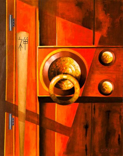 DE Poortloze Poort  Koan Mumonkan . Olieverf op canvas. 100cmx80cm.  Prijs; 550 euro inc btw
