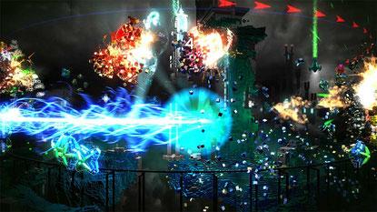 Horizontaler Arcade-Shootout mit meditativen Qualitäten, basslastiger Techno-Mucke und fatalem Suchtpotential.