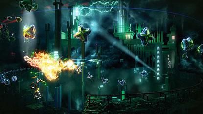 """Eigentlich sollte """"Killzone Shadow Fall"""" (oben) das Flaggschiff der PS4 werden, doch visuell fühlt sich der Titel nicht durchweg nach 'NextGen' an, spielerisch schon gar nicht. Diesen Job übernimmt stattdessen ein kleines Download-Spielchen: """"Resogun"""" (re"""