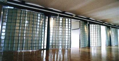 Glasbaustein-Trennwand innen