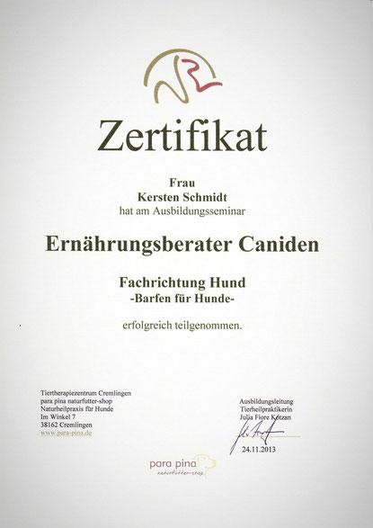 "Zertifikat vom 24.11.2013 ""Ernährungsberater Caniden"" (para pina)"