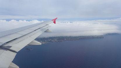Anflug auf die Insel Sao Miguel, Azoren.