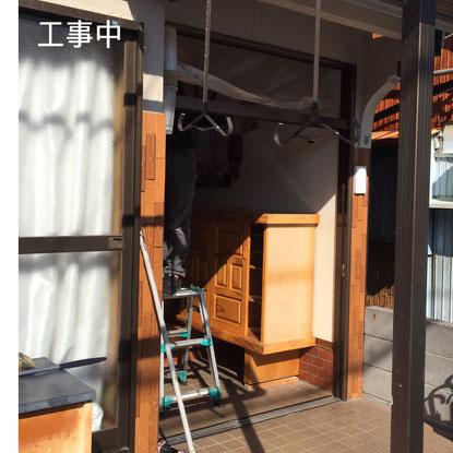 垂水区 玄関ドア工事中 マスタードリフォーム