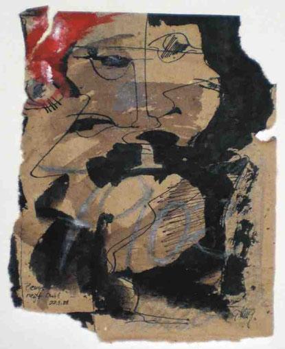 """""""Beuys regt an!"""", 1988, Tusche, Tempera, Bleistift auf braunem Papier,, 19,5 x 15,5 cm"""