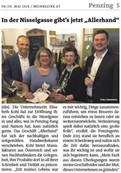 Artikel in Wiener Bezirkszeitung