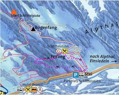 Übersichtskarte Winterwanderkarte Schneeschuhtrail Schlittelpiste