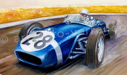 Painting -Stirling  Moss -  Lotus 18 -