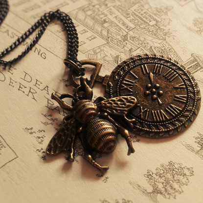 Steampunk Pocket Watch & Bee Necklace