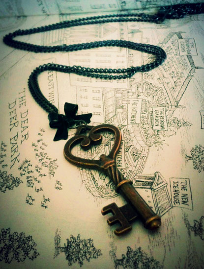 Steampunk Heart Key Necklace