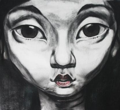 Porträt I, Kohle/Pastell auf Papier, 1 x 1m