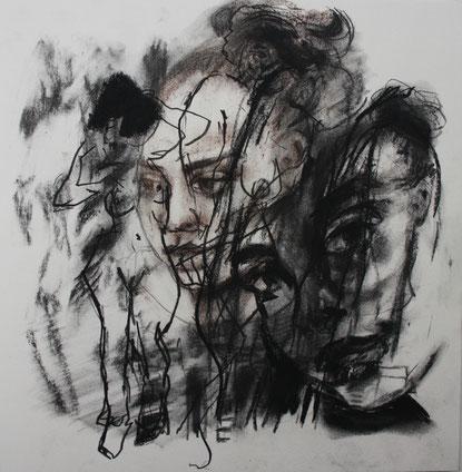 Studie I, Kohle/Pastell auf Papier, 0,35 x 0,35m