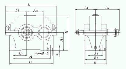 Редукторы цилиндрические горизонтальные одноступенчатые типа 1ЦУ (ЦУ). 1ЦУ-160 (ЦУ-160); 1ЦУ-200 (ЦУ-200); 1ЦУ-250 (ЦУ-250) .Габаритные и присоединительные размеры.