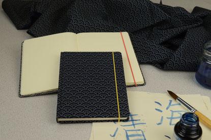 Notizbuch handgebunden, Notizbuch Stoff Japan sei-gai-ha Wellen