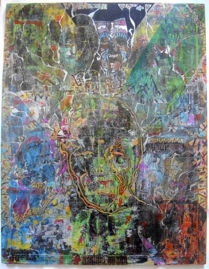 Techniques mixtes & transferts d'images sur toile, 70X90cm, 2014