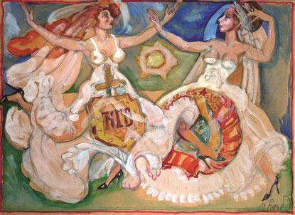 """Brusilovsky, Anatol, Die Braut """"Ewiges Nachspionieren"""" und  """"Die Nationalhymne"""", Gouache, Aquarell, farbige Papier, Karton, 30 x 23 cm, 2010-2014"""