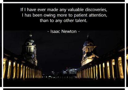 もし私が価値ある発見をしたのであれば、それは才能ではなく忍耐強く注意を払っていたことによるものだ。