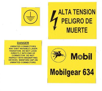 Avisos en etiquetas en poliester amarillo