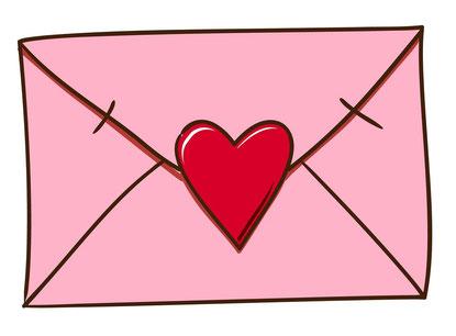rosafarbener Briefumschlag mit roten Herz verschlossen