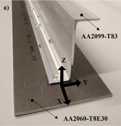 Überlapp-Rührreibschweißung zwischen AA2099-T83 Stringer und placed AA2060-T8E30 Skin