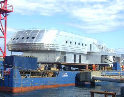 Rührreibgeschweißtes Aluminium-Modul der 'Finnmarken'  bei Marine Aluminium in Haugesund, Norwegen