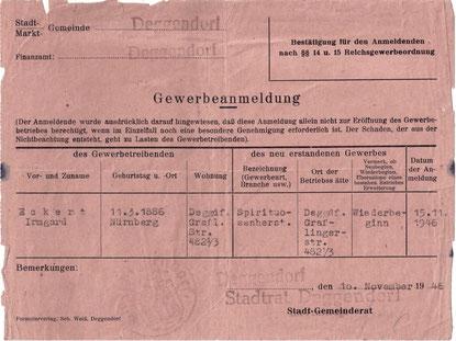 Gewerbeanmeldung - Wiederbeginn der Brennerei zum Bären November 1945