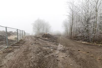 Neuer Weg an Steinbruchkante, Jan. 2020