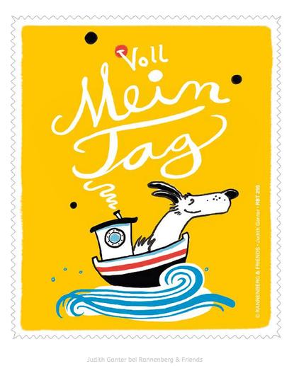 VOLL MEIN TAG! Hund im Boot - Text und Bild Judith Ganter bei Rannenberg & Friends - Judith Ganter bei Rannenberg & Friends - Brillenputztücher Humor, Geschenke Brillenträger, Mitbringsel Brillenträger