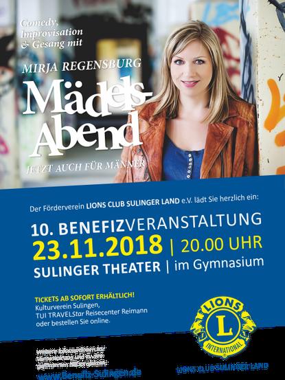 Plakat Lions Club Sulinger Land Benefiz Mirja Regensburg
