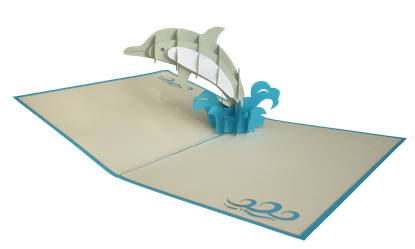 Carte pop-up Dauphin 3D - carte kirigami dauphin