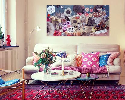 """Décoration salon collage """"Bohème"""""""