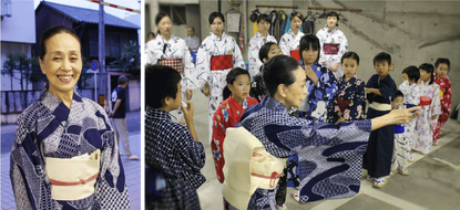 花柳寿々初 師匠 /  「町をあげての奉納に」という師匠の思いから、毎回踊り子に加えて町内ゆかりの子どもたちも参加します。