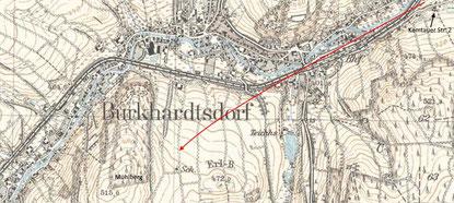 Der Anflug der Bü 181 auf einer Karte von 1938