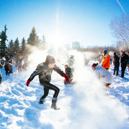 Large group of people having a snowball fight at #yegsnowfight in Edmonton