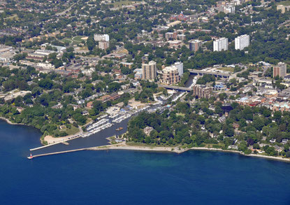 Oakville waterfront aerial view