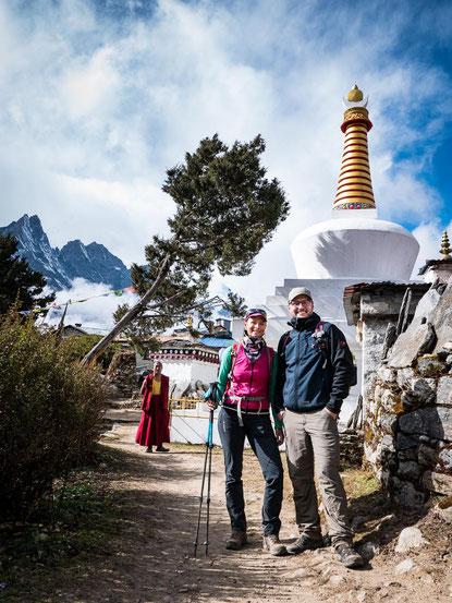 Die Stupa von Tengboche bietet einen tollen Empfang