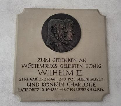 Gedenktafel für König Wilhelm II. und Königin Charlotte von Württemberg im Schloss Bebenhausen. Bild: Max Witzler.