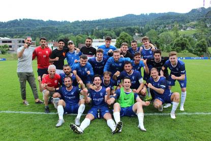 Riesenjubel bei unserer Mannschaft nach dem Einzug ins VFV-Cup-Halbfinale