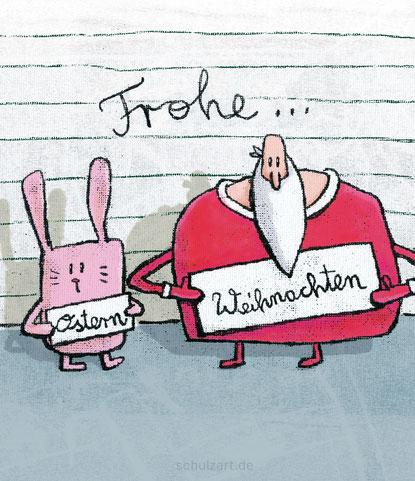 Zeichnung von Frank Schulz: der Osterhase und der Weihnachtsmann auf dem Polizeirevier unter Verdacht