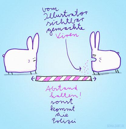 Zeichnung von Frank Schulz: zwei Osterhasen halten Abstand